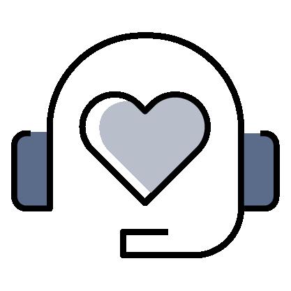 Heart with headphones icon